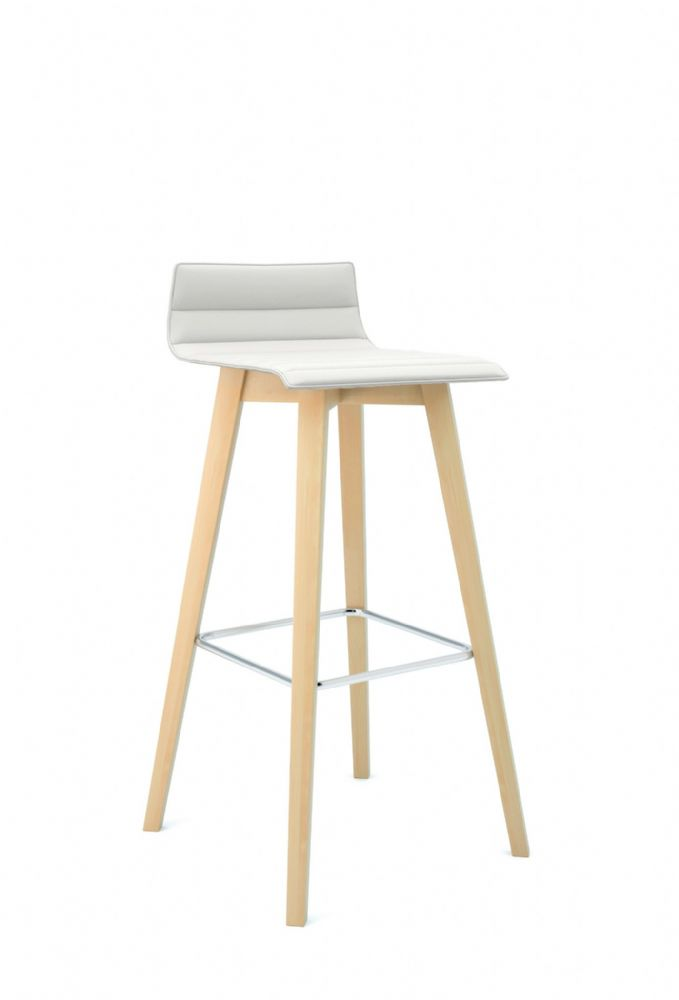 Pledge Bjorn High Bistro Chair With Ribbed Style Outlines And 4 Wooden Legs